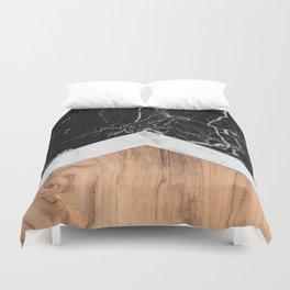 Arrows - Black Granite, White Marble & Wood #366 Duvet Cover