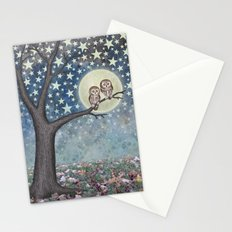 northern saw whet owls under the stars Stationery Cards
