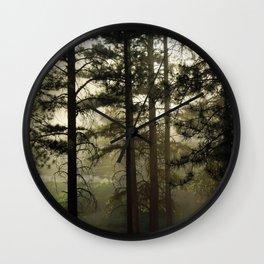 Sunrise Shroud Pine Forest Wall Clock