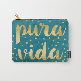 Pura Vida Gold on Teal Carry-All Pouch