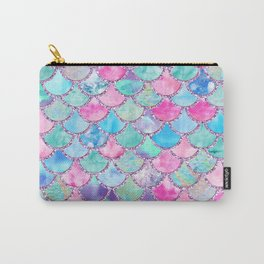 Colorful Pink and Blue Watercolor Trendy Glitter Mermaid Scales Carry-All Pouch