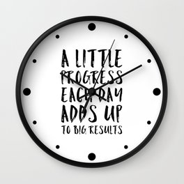 A Little Progress Motivational Quote Wall Clock