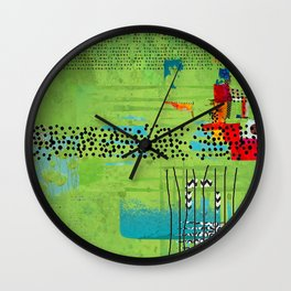 Red and Green Abstract Art Collage Wall Clock