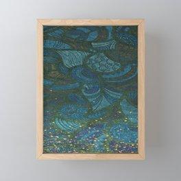 Paisley Leaf Abstract Pattern with Glitter Blue Green Aqua Framed Mini Art Print