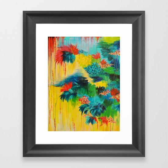 PARADISE WAITS - Beautiful Colorful Tropical Abstract Acrylic Painting Crimson Kelly Green Lagoon Framed Art Print