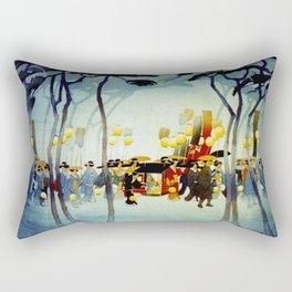 Japanese Covered Litter and Lanterns Rectangular Pillow