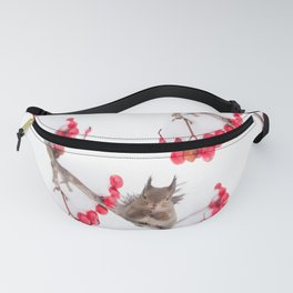 Cute Squirrel With Red Rowan Berries On A White Background #decor #society6 #buyart Fanny Pack