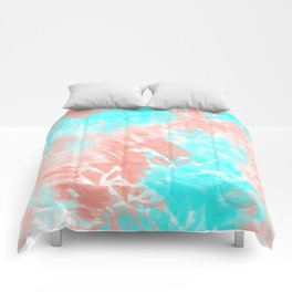 Artsy Modern Coral Cyan Abstract Art Comforters