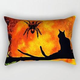 CAT SPIDER AND HARVEST MOON Rectangular Pillow