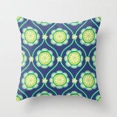 Citrus Flowers Blue Throw Pillow