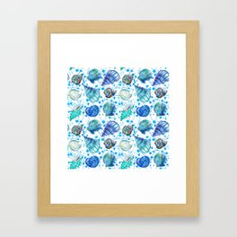 Seamless watercolor marine pattern. Endless texture. Hand draw. Collection of shells on white backgr Framed Art Print