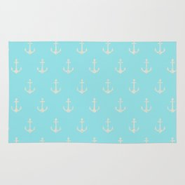 Maritime Aqua and White Anchor Pattern on #Society6 Rug