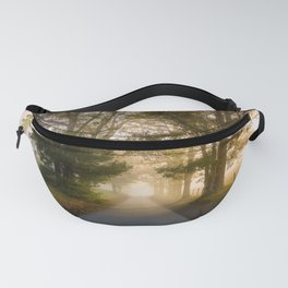 Daylight and Mist - Road with Warm Light in Great Smoky Mountains Fanny Pack