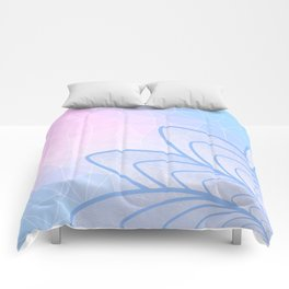 Flower on Pastel Pink and Blue Geometric Pattern Comforters