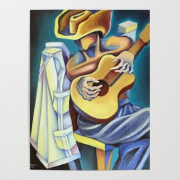 Rest with guitar. Miguez Art Poster