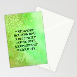"""You're braver than you believe..."" Quote on Green Watercolor  Stationery Cards"