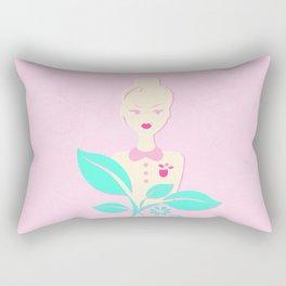 A girl with a top knot. Rectangular Pillow