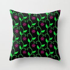 Pink flowers and green vines on black Throw Pillow