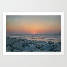 Sunrise at the Battery Seawall Fort Fisher NC Art Print