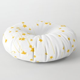 Meteor shower with yellow stars Floor Pillow