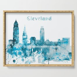 Cleveland Ohio Monochrome Blue Skyline Serving Tray