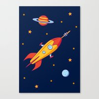 spaceship Canvas Prints featuring Spaceship! by Doodle Dojo