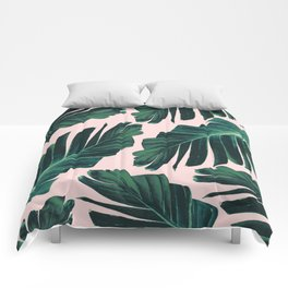 Tropical Blush Banana Leaves Dream #1 #decor #art #society6 Comforters