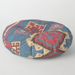 Vintage Woven Kilim // 19th Century Colorful Royal Blue Yellow Authentic Classic Ornate Accent Patte Floor Pillow