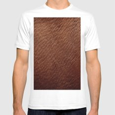 Leather Texture (Dark Brown) Mens Fitted Tee White MEDIUM