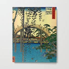 Hiroshige View Of Bridge Over Water Metal Print