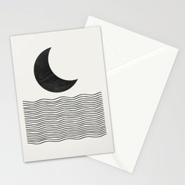 Modern Night, Moon by the Waves Stationery Cards