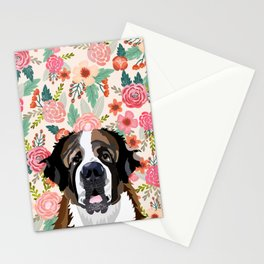 Saint Bernard floral pet portrait dog breed gifts for pure breed dog lovers Stationery Cards