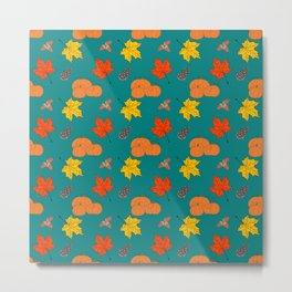 Autumn Leaves and Pumpkins Fall Illustration Pattern Metal Print