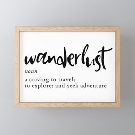 Wanderlust Definition - Minimalist Black Type Framed Mini Art Print
