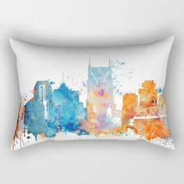 Nashville Watercolor Skyline Rectangular Pillow