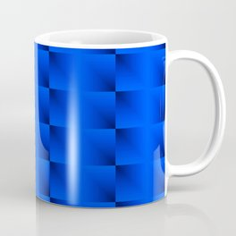 A horizontal ribbon of raised squares with blue intersecting rectangular triangles and highlights Coffee Mug