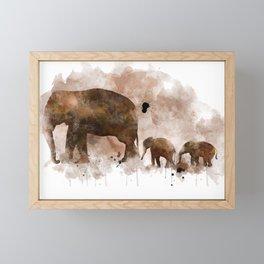 Elephant and Calves Framed Mini Art Print