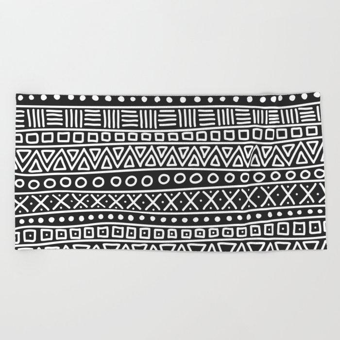 Geometric Doodle Plaid Beach Towel