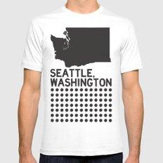 SEATTLE WASHINGTON White MEDIUM Mens Fitted Tee