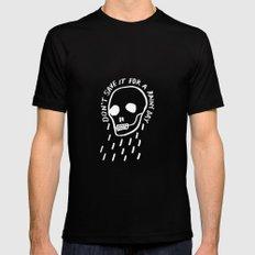 rainy day minimal skull hand lettering (dark) Mens Fitted Tee MEDIUM Black