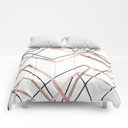 Rose Gold White Linear Triangle Abstract Pattern Comforters