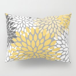 Modern Elegant Chic Floral Pattern, Soft Yellow, Gray, White Pillow Sham