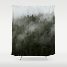 Pacific Northwest Foggy Forest Shower Curtain