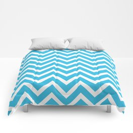 sky blue, white zig zag pattern design Comforters