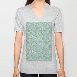 Luxury Aqua and Gold oriental pattern Unisex V-Neck