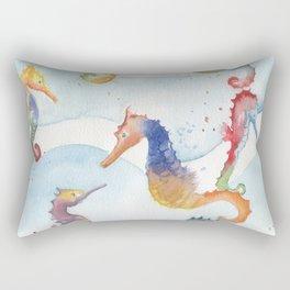 Colorful Seahorses Rectangular Pillow