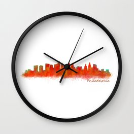 Philadelphia City Skyline Hq V2 Wall Clock