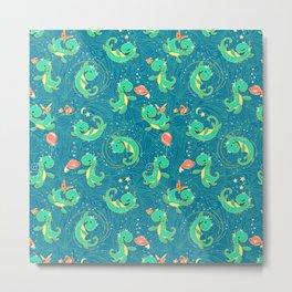 Baby Nessy | Blue Green Metal Print