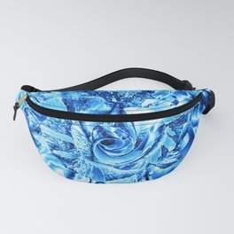 Blue and Turquoise Ice Rose Fanny Pack