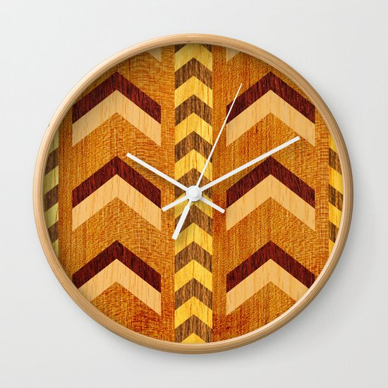 Wood Inlaid Chevrons Wall Clock